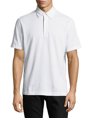 Nautica Dot-Print Pique Polo-WHITE-Large