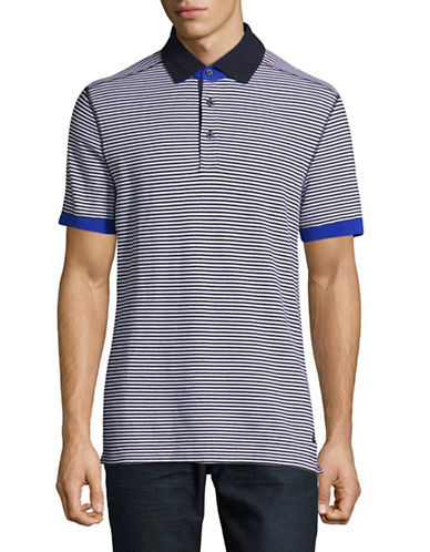 Nautica Stripe Polo-NAVY-Medium