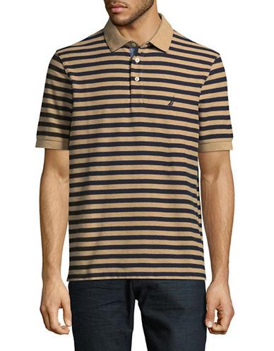 Nautica Pique Tonal Stripe Polo-BEIGE-Medium