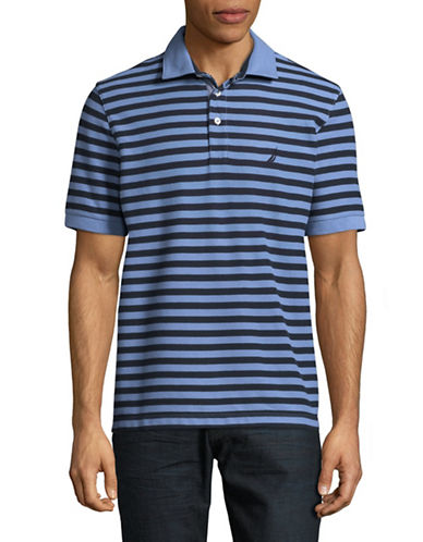 Nautica Pique Tonal Stripe Polo-BLUE-Medium