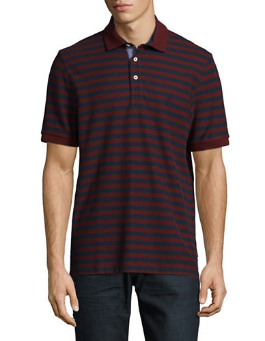 Nautica Pique Tonal Stripe Polo-RED-Medium