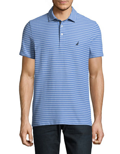Nautica Pique Tonal Stripe Polo-MEDIUM BLUE-X-Large