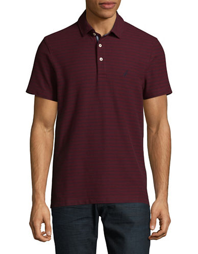 Nautica Pique Tonal Stripe Polo-RED-Large