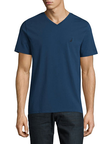 Nautica V-Neck T-Shirt-BLUE-Medium
