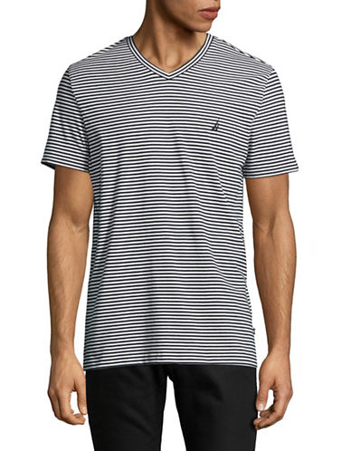 Nautica Striped V-Neck Tee-WHITE-Medium