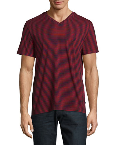 Nautica Striped V-Neck Tee-RED-X-Large
