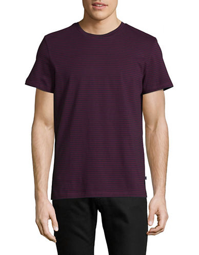 Nautica Cotton Jersey Crew Neck Stripe T-Shirt-RED-Large