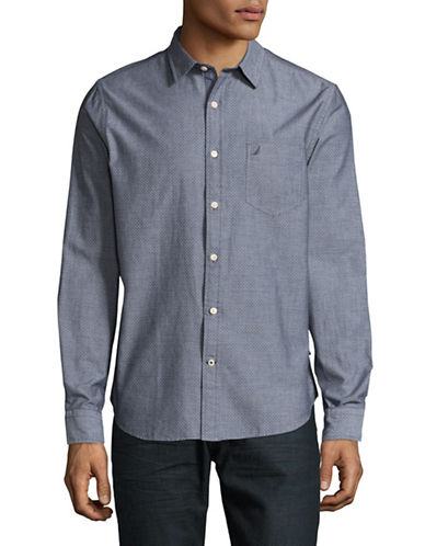 Nautica Slim-Fit Pattered Chambray Sport Shirt-NAVY-X-Large