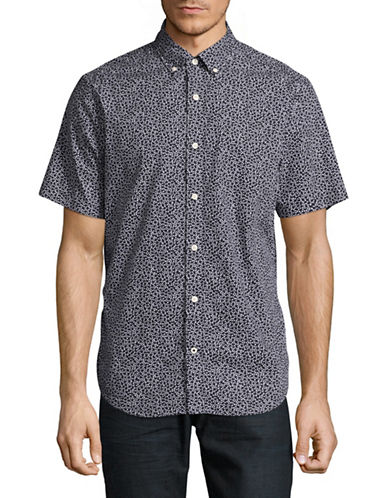 Nautica Micro-Leaf Print Sport Shirt-NAVY-Medium