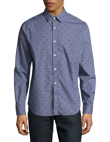 Nautica Micro Dot Poplin Sport Shirt-BLUE-X-Large