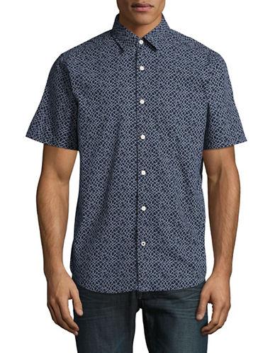 Nautica Woven Print Sport Shirt-NAVY-Medium