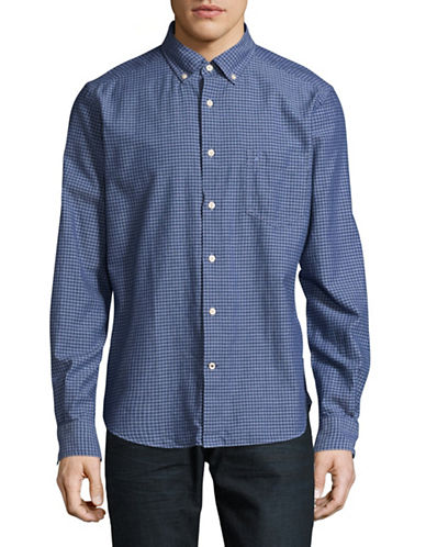 Nautica Slim-Fit Yarn-Dye Plaid Chambray Shirt-BLUE-X-Large