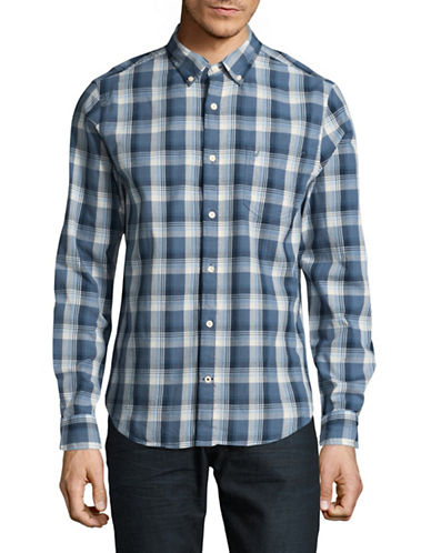 Nautica Slim-Fit Yarn-Dye Plaid Chambray Shirt-BLUE-Medium