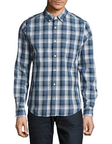 Nautica Slim-Fit Yarn-Dye Plaid Chambray Shirt-BLUE-X-Large