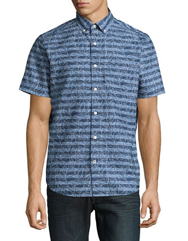 Nautica Striped and Floral Sport Shirt-BLUE-Small