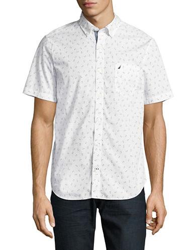 Nautica Slim Fit Anchor Print Sport Shirt-WHITE-Medium