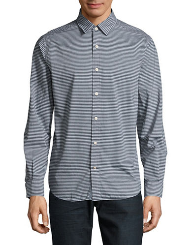 Nautica Classic-Fit Striped Poplin Shirt-BLUE-Large