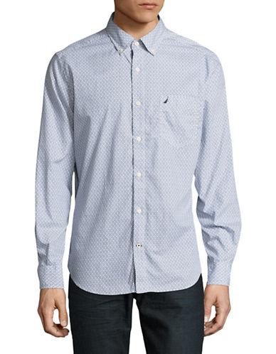 Nautica Classic-Fit Geo Print Poplin Shirt-BLUE-X-Large