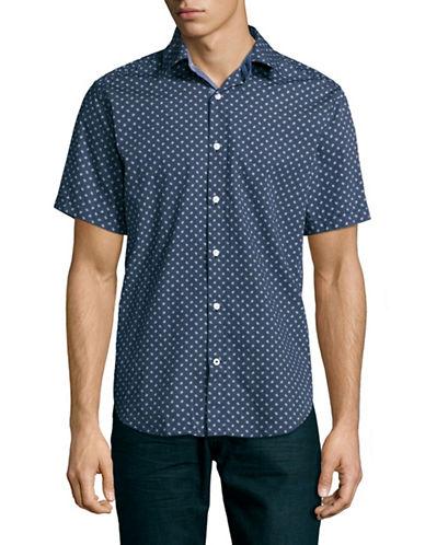 Nautica Classic Fit Dotted-Flag Print Poplin Shirt-MARTIME NAVY-Medium
