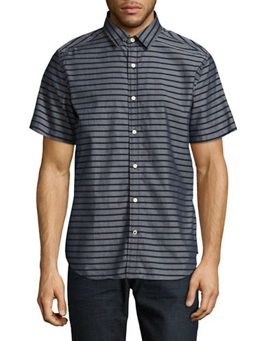Nautica Horizontal Stripe Sport Shirt-NAVY-Medium