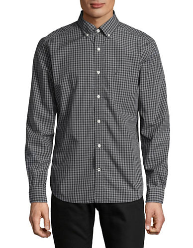 Nautica Gingham Sport Shirt-GREY-Small