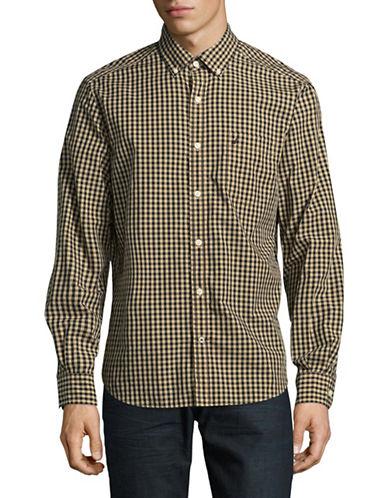 Nautica Gingham Sport Shirt-BEIGE-Medium