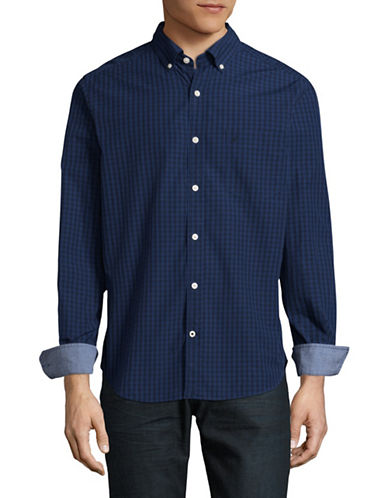 Nautica Classic-Fit Gingham Sport Shirt-BLUE-Large