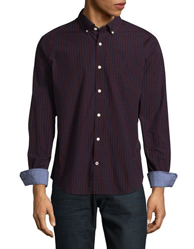 Nautica Gingham Sport Shirt-RED-Medium