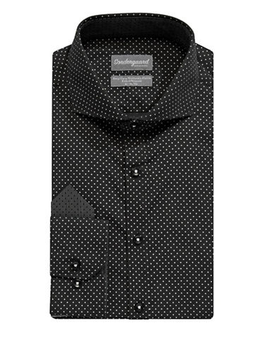 Sondergaard Easy-Care Fitted Dot-Print Dress Shirt with Pocket Square-GREY-18-34/35