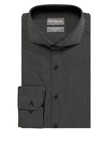 Sondergaard Printed Fitted Cotton Dress Shirt-BLACK-16-34/35