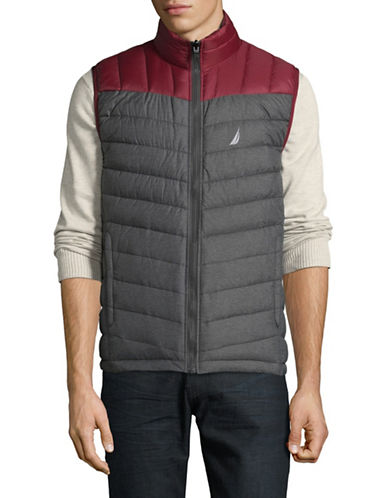 Nautica Colourblock Reversible Vest-GREY HEATHER-Small