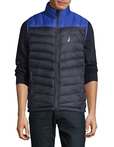Nautica Quilted Down Colourblock Reversible Vest-NAVY-2X Big
