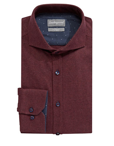 Sondergaard Cotton Flannel Dress Shirt-RED-17-34/35