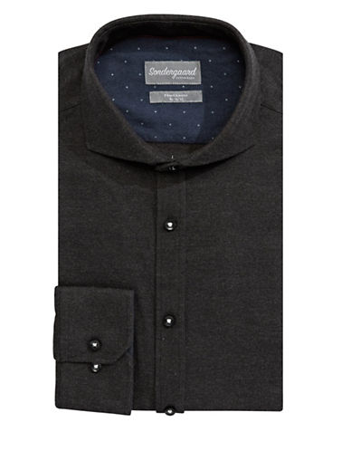 Sondergaard Flannel Cotton Dress Shirt-CHARCOAL-16-32/33