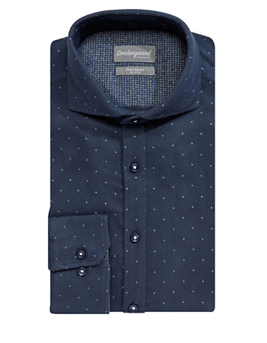 Sondergaard Flannel Cotton Dress Shirt-NAVY-16-32/33