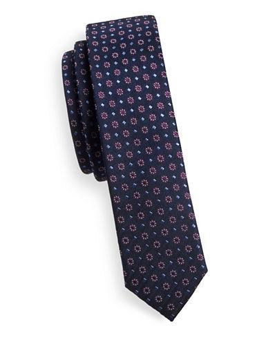 Sondergaard Slim Multi-Dot Silk Tie-NAVY-One Size