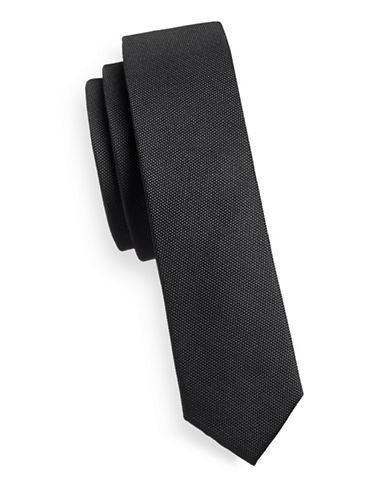 Sondergaard Slim Textured Silk Tie-CHARCOAL-One Size