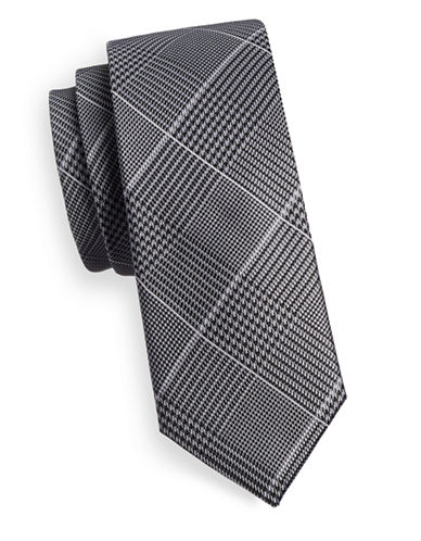 Sondergaard Glen Check Silk Tie-CHARCOAL-One Size