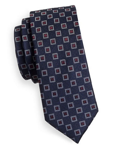 Sondergaard Multi-Patterned Silk Tie-NAVY-One Size
