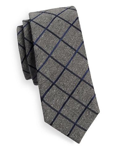 Sondergaard Herringbone and Check Silk Tie-GREY-One Size