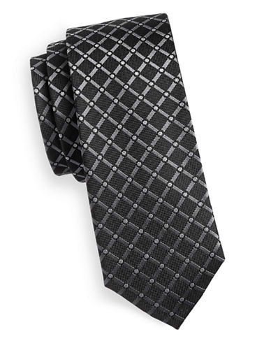 Sondergaard Grid Silk Tie-CHARCOAL-One Size