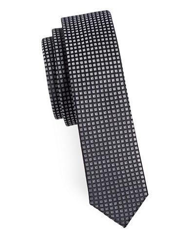 Sondergaard Square Print Silk Tie-CHARCOAL-One Size