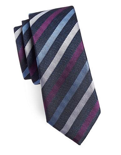 Sondergaard Striped Silk Tie-NAVY-One Size
