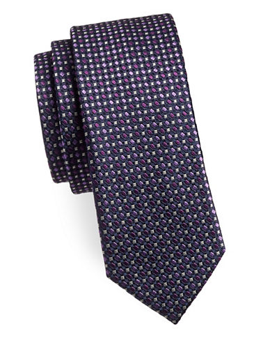 Sondergaard Diamond Silk Tie-PURPLE-One Size