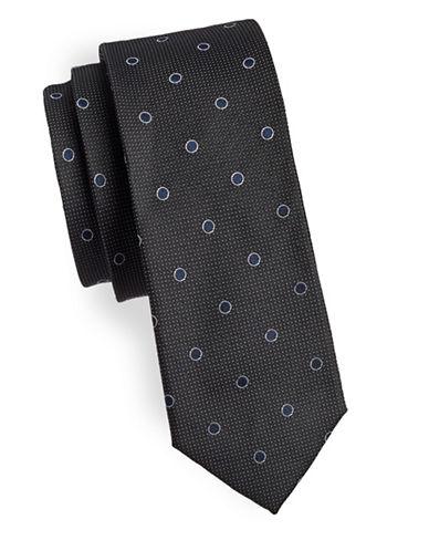 Sondergaard Polka Dots Silk Tie-BLACK-One Size