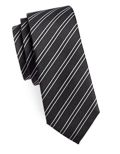 Sondergaard Contrast Striped Silk Tie-BLACK-One Size