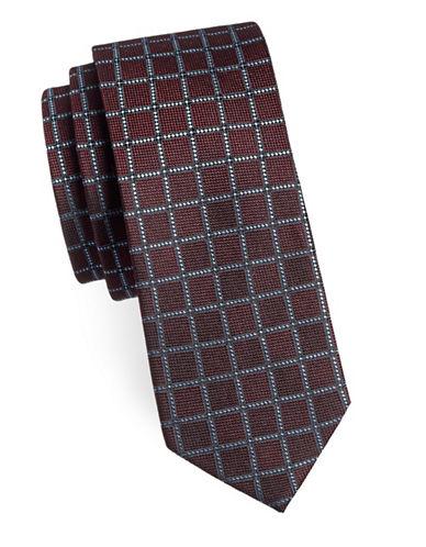 Sondergaard Windowpane Silk Tie-RED-One Size