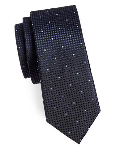 Sondergaard Dotted Contrast Silk Tie-NAVY-One Size