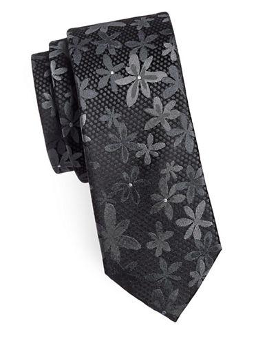 Sondergaard Floral Silk Tie-CHARCOAL-One Size