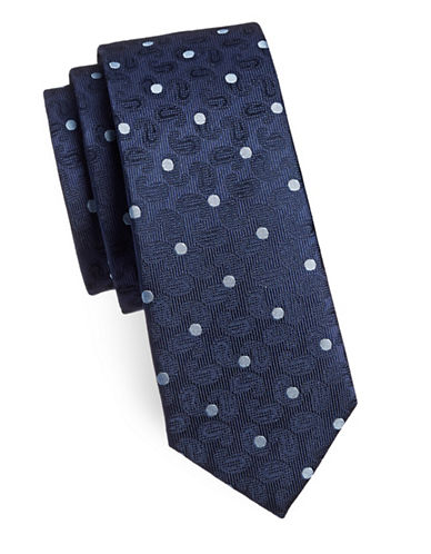 Sondergaard Dot and Paisley Silk Tie-NAVY-One Size